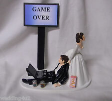 Wedding Game Over Beer Cans Laptop Computer Geek Cake Topper ~Both Dark Hair~