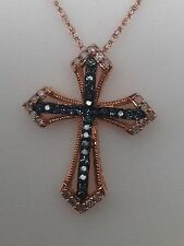 New 10K Rose Gold Blue and White Diamond Pave Set Cross Pendant and Chain 0.15ct