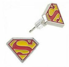 Superman S Logo Enamel Metal Stud Earrings