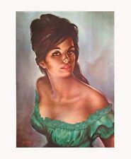 More details for green dress j h lynch tretchikoff kitsch era retro quality giclee canvas print