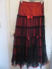 Living dead souls gothic burlesque glam skirt red black bows Small size 10-12