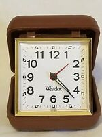 Vintage Westclox Travel Alarm Clock Wind Up Hard Plastic Case