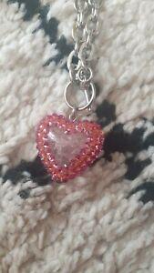 tarina tarantino heart necklace pink rare tattoo pinup rockabilly kitsch kawaii
