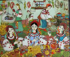 Ukrainian Folk Art by Elena Diadenko, Christmas Dinner Making