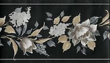 Elegant Fl On Black Silk Wallpaper Border