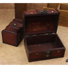 2Pcs Set Vintage Wooden Pirate Jewellery Storage Box Case Holder Treasure Chest