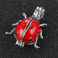 5X Ladybug Red Drip Pearl Cage  Locket Pendant DIY  Necklace Making Accesories
