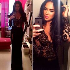 Z1 NEW Black Lace Maxi Long Dress Sleeves Clubwear Gown Formal Cocktail S M L XL