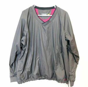 Cabelas Womens Nylon Windbreaker Gray Hot Pink Size 2XL Camping Comfort