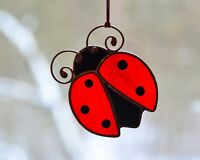 Stained glass ladybug suncatcher, lucky ladybug, window hanging decor