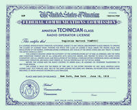 Personalized Repro Old Style Amateur Radio License Ham - Choice of Class GREEN!