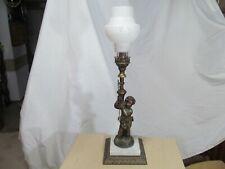 New listing Antique Metal Gas Table Lamp Newel Post Cherub - Glass Shade