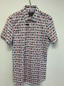 ANGELO LITRICO SS MULTICOLOURED SHIRT SIZE S BODY FIT STRETCH BNWT