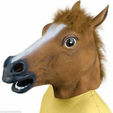HORSE HEAD MASK RUBBER LATEX SILICONE PANTO FANCY DRESS PROP REALISTIC  PARTY UK