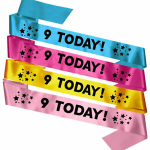 Kids Children's 9 Today 9th Birthday Party Sash Gift Present Badge Bag Decor