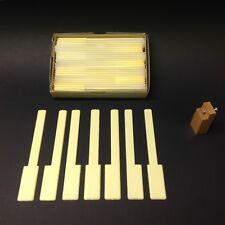 "Piano Keytops Set/52 Satin Yellow Simulated Ivory Long Head 2"" w/Alignment Tool"