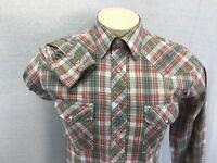 Wrangler Long Sleeve Pearl Snap Western Green Red Plaid Shirt M