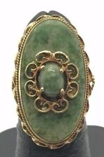 Antique Style 14K Yellow Gold Green Jadeite Floral Swirl Long Cocktail Ring 6.25