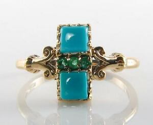 RARE COMBO 9CT GOLD PERSIAN TURQUOISE & COLOMBIAN EMERALD RING FREE RESIZE