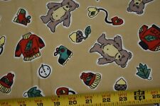 By 1/2 Yd, Vintage, Nature Bear & Outdoors Equipment on Tan Flannel, P543