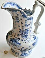 Vintage Blue & White Ironstone Pitcher Chinoiserie Floral Mountain 30cm tall