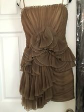 BCBG Max Azria Runway Taupe light brown Lace Sweetheart Neck Cinder Dress Size 2