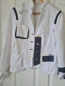 Elisa Cavaletti cotton  White & blue Jacket Size M / UK 12