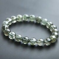 Natural Green Hair Rutilated Quartz Crystal Reiki Round Beads Bracelet 9mm AAAA
