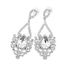 Vintage Wedding Crystal Glass Rhinestone Dangle Drop Chandelier Earrings