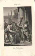 Stampa antica WIELAND Die Abderiten asino 1860 Old antique print Alte stich