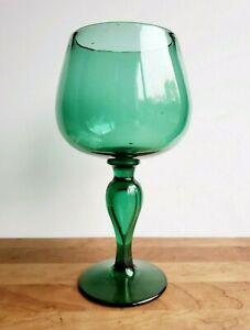 Vintage green glass goblet or chalice vase handblown mid century art glass