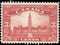 Canada Mint H F-VF Scott #143 1927 3c Anniversary of Confederation Stamp