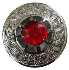 Kilt Fly Plaid Brooch Red Stone Chrome Finish/Ladies Shawl Brooch/Sash Brooches