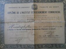 #8254 France Grenoble University Commercial Institute Diploma 1930