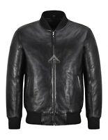 Mens Bomber Leather Jacket Black Classic Fighter Retro Pilot Lambskin Jacket 323