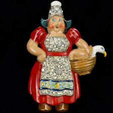 Trifari 'Joseph Wuyts' Dutch Lady in Red Dress with a Goose in a Basket Pin Clip
