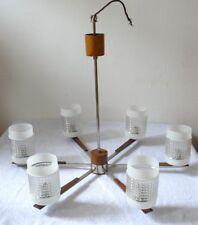 DECKENLAMPE 60ER JAHRE DECKENKRONE TEAK CHROM GLAS MIDCENTURY DESIGN