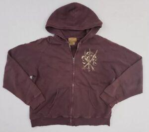 Vintage 90s Polo Jeans Company Ralph Lauren Plum Full Zip Hooded Jacket Men's XL