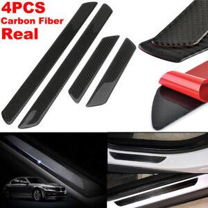 4pcs 48CM+25CM Carbon Fiber Car Scuff Plate Door Sill Cover Panel Step Protector