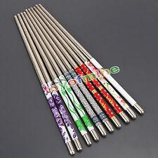 5 Pair Non-slip Design Flower Pattern Chop Sticks Stainless Steel Chopsticks