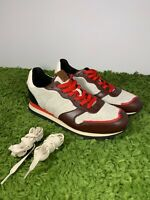 COACH LEATHER SHOES MEN'S HAIRY SUEDE SNEAKERS RED BROWN BLACK G1290 Coach SZ 10