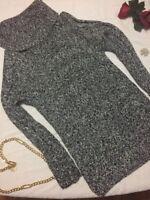 Jones New York Signature Black White Silver Womens Sweater Dress  Size Sz Medium