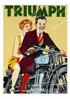 Paper Print Poster Vintage Advert Art deco Triumph Bikes Canvas Framed painting