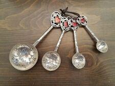 Heart & Rose Decorative 4 piece Measuring Spoon set -Metal