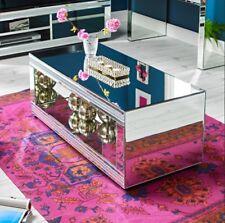 Venetian Mirrored Coffee Table Modern Large Furniture Silver Shelf Glass Room