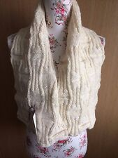 Hand Knitted Gridlock Scarf Shawl/Wrap:  Natural Aran, by KnittedNature