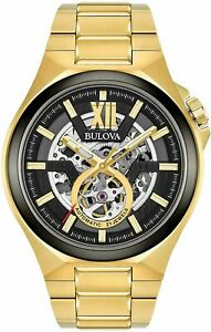 Men's Bulova Maquina Automatic Gold Tone Skeleton Dial Watch 98A178