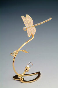Dragonfly FIGURINE - FREE STANDING 24KT GOLD PLATED WITH AUSTRIAN CRYSTALS