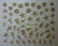 3D Nail Art Lace Stickers Decals Transfers GOLD Shells Starfish Holidays DTL138G