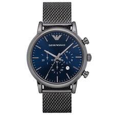 Emporio Armani AR1979 Herren Chronograph Blau Edelstahl Grau Milanaise Armband